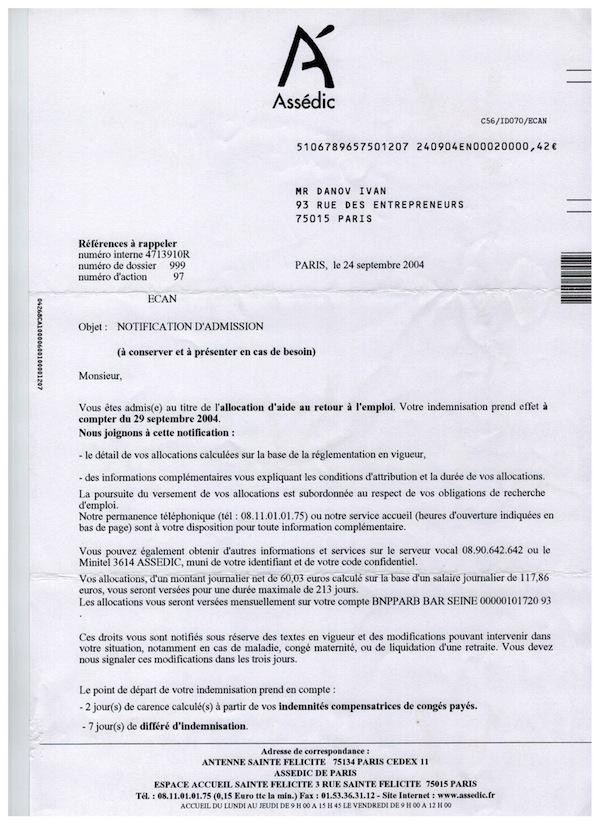 Danov-Assedic-admission