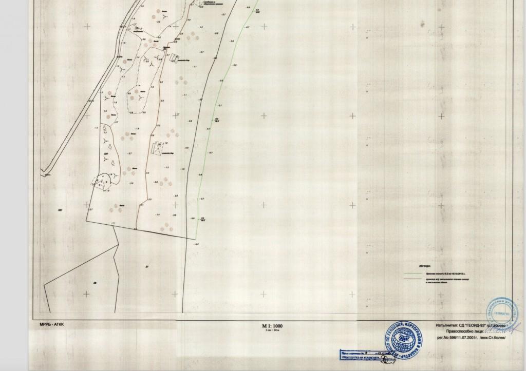 Дюните на к-г Китен според картата от 2001 г.