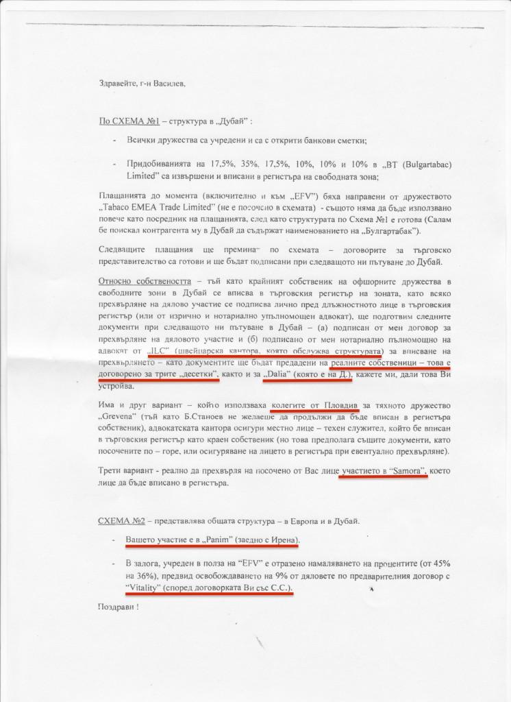Писмото е предоставено от финансовия журналист Мирослав Иванов.  Публикувано първо в неговия блог. Подчертаванията са на Биволъ.
