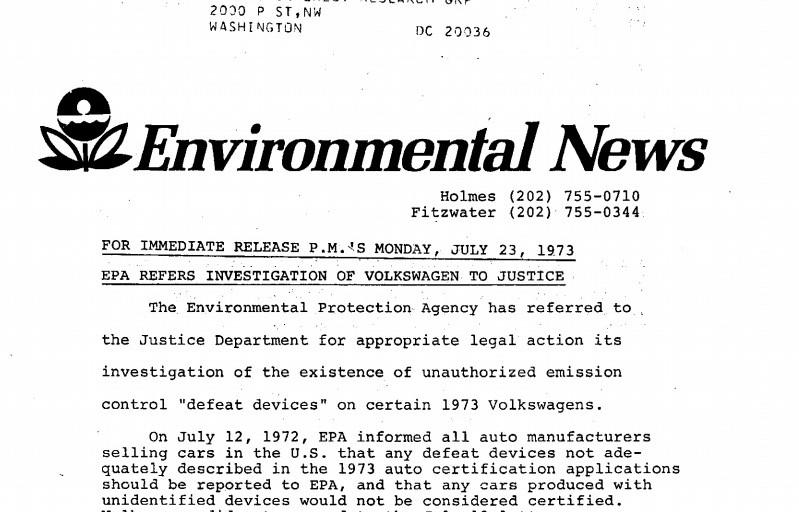 Slate : Фолксваген е глобяван през 1973 за същата измама