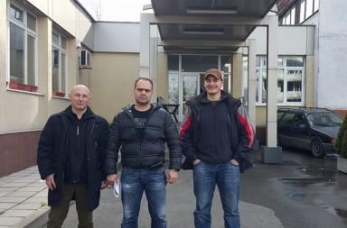 Атанас Чобанов, Асен Йорданов и Димитър Стоянов пред Столичната следствена служба.